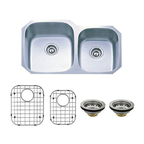 Stainless Steel Undermount Double Bowl Kitchen Sink Combo with Strainer & Grid