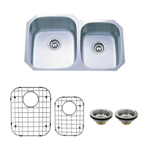 Stainless Steel Undermount Double Bowl Kitchen Sink Package w/ Strainer and Grid