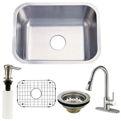 Undermount Single Bowl Kitchen Sink & Faucet w/ Strainer, Grid, Soap Dispenser