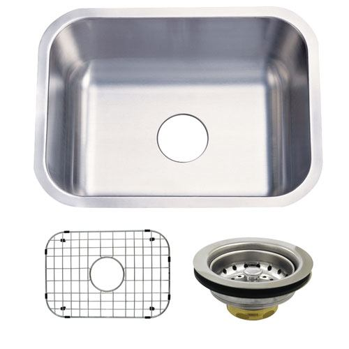 Stainless Steel Undermount Single Bowl Kitchen Sink w Grid Rack and Strainer