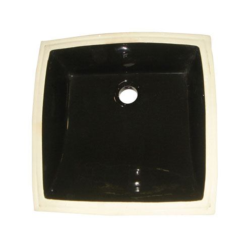 Kingston Cove Black China Undermount Bathroom Sink with Overflow Hole LB18187K
