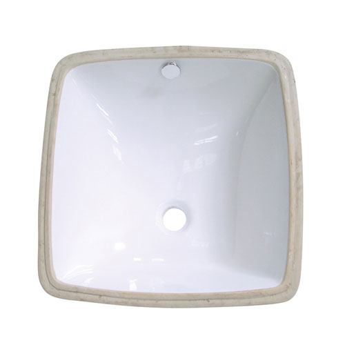 Kingston Vista White China Undermount Bathroom Sink with Overflow Hole LB18188