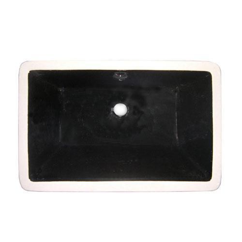 Castillo Black China Undermount Bathroom Sink with Overflow Hole LB21137K