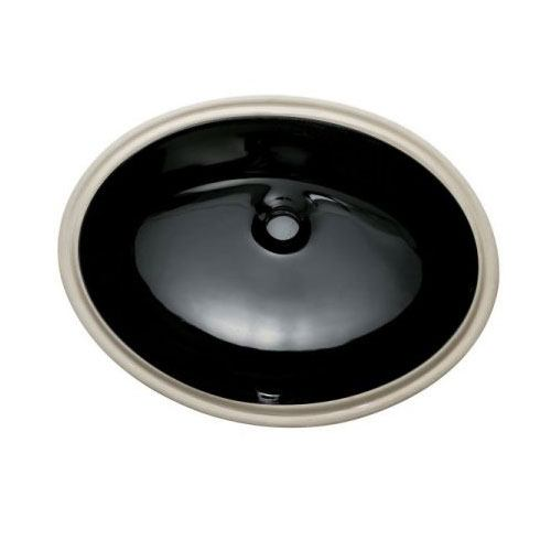 Courtyard Black China Undermount Bathroom Sink with Overflow Hole LBO22178K