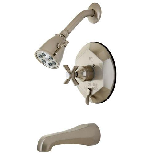 Kingston Brass VB46380ZX Tub and Shower Combination Faucet Satin Nickel