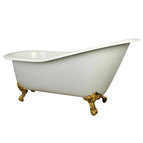 61-inch Small Cast Iron White Slipper Clawfoot Bathtub with Polished Brass Feet