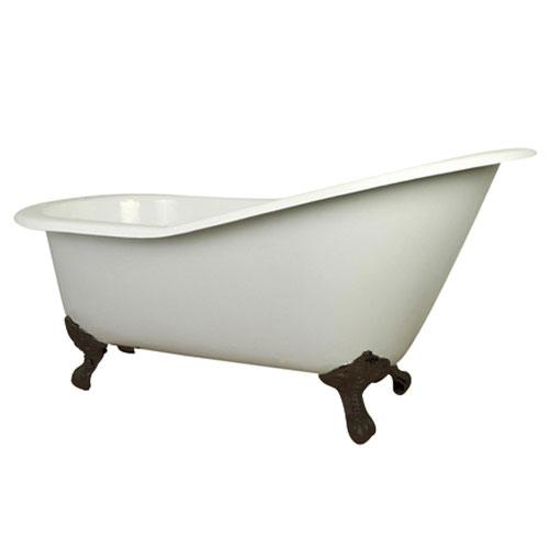 61inch small cast iron white slipper clawfoot bathtub with oil rubbed bronze feet