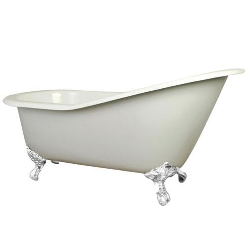 61-inch Small Cast Iron White Slipper Clawfoot Bathtub with White Feet