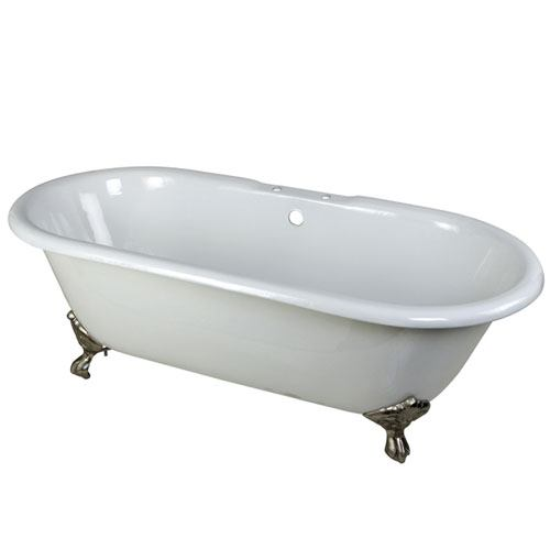 66 Inch Large Cast Iron Double Ended White Claw Foot Bathtub With Satin  Nickel Feet