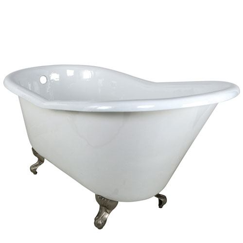 60-inch Small Cast Iron White Slipper Clawfoot Tub with Satin Nickel Feet