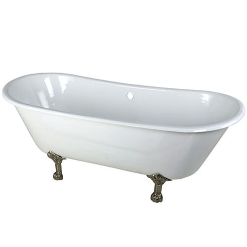 67-inch Large Cast Iron White Double Slipper Clawfoot Bath Tub w/ Satin Nickel Feet