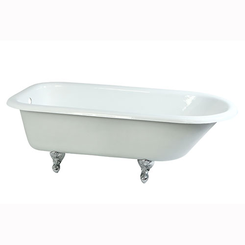 67-inch Large Cast Iron Roll Top Freestanding Clawfoot Bathtub w/ Chrome Feet