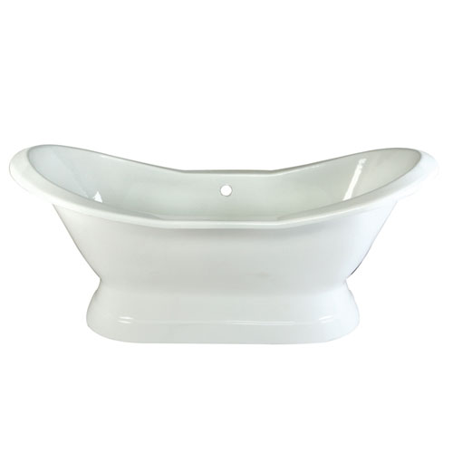 72-inch Large Cast Iron White Double Slipper Pedestal Freestanding Bath Tub
