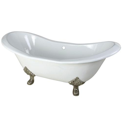 72-inch Large Cast Iron White Double Slipper Clawfoot Bath Tub w/ Satin Nickel Feet