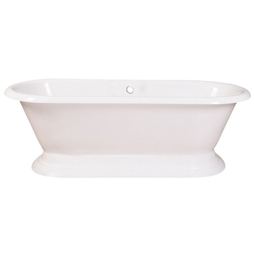 72-inch Large Cast Iron Double Ended White Pedestal Freestanding Bath Tub