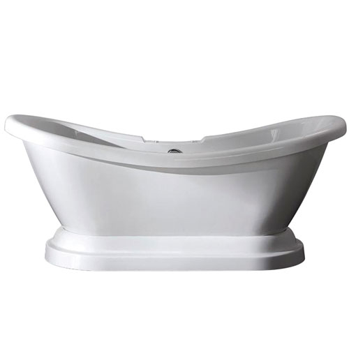 69-inch Contemporary Pedestal White Double Slipper Acrylic Freestanding Bath Tub
