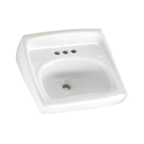 American Standard Lucerne Wall-Mounted Bathroom Sink with Faucet Holes on 4 inch Center in White 102970
