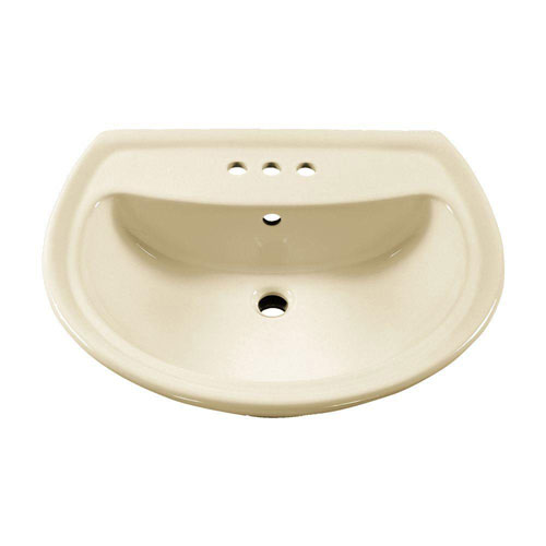 American Standard Cadet Pedestal Sink Basin with 4 inch Faucet Holes in Linen 160501