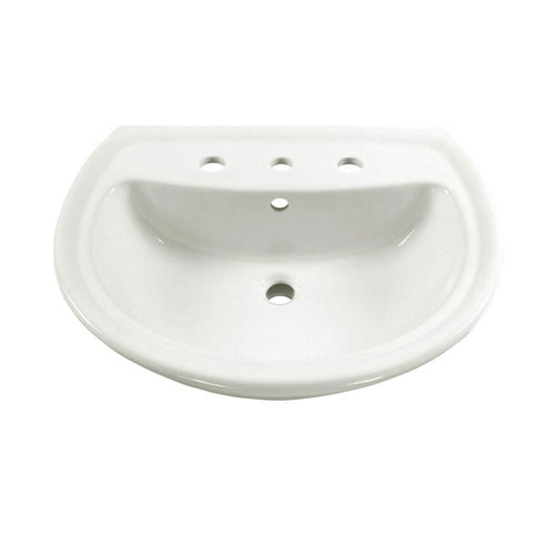 American Standard Cadet 6 inch Pedestal Sink Basin with 8 inch Faucet Centers in White 160521