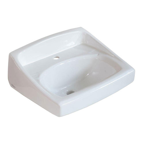 American Standard Lucerne Wall-Mounted Bathroom Sink for Exposed Bracket Support by Others with Center Hole Only in White 20924