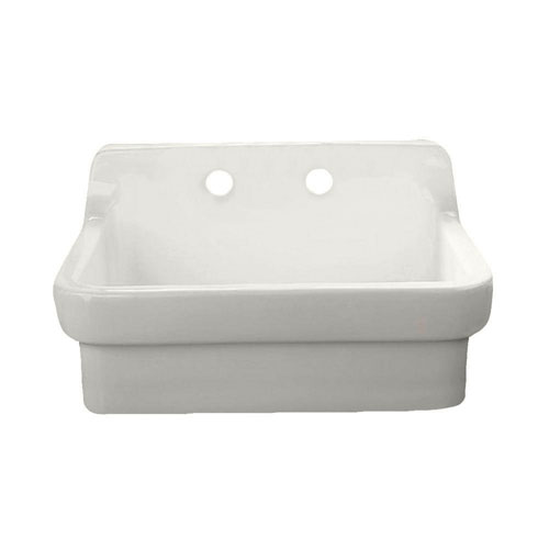 American Standard Country Base-Mounted Vitreous China 30 inch 2-Hole Single Bowl Kitchen Sink in White 297009