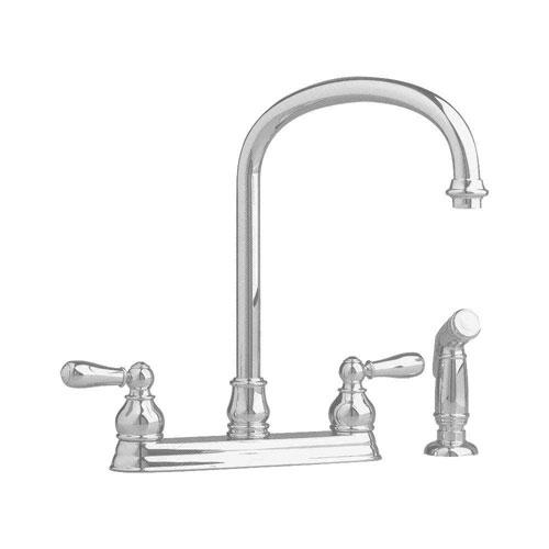 American Standard Hampton 2-Handle Kitchen Faucet in Satin Nickel with Escutcheon Plate 350221