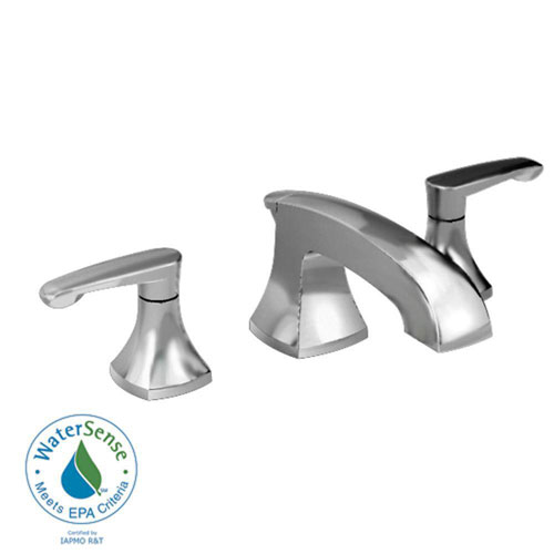 American Standard Copeland 8 inch Widespread 2-Handle Low-Arc Bathroom Faucet in Satin Nickel with Metal Speed Connect Pop-Up Drain 372433