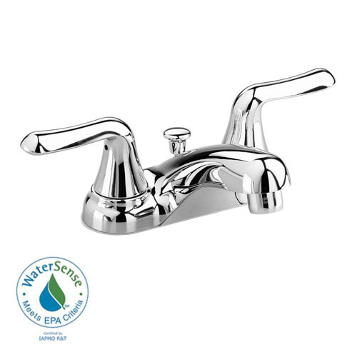 American Standard Colony Soft 4 inch Centerset 2-Handle Low-Arc Bathroom Faucet in Polished Chrome with Speed Connect Drain 410117