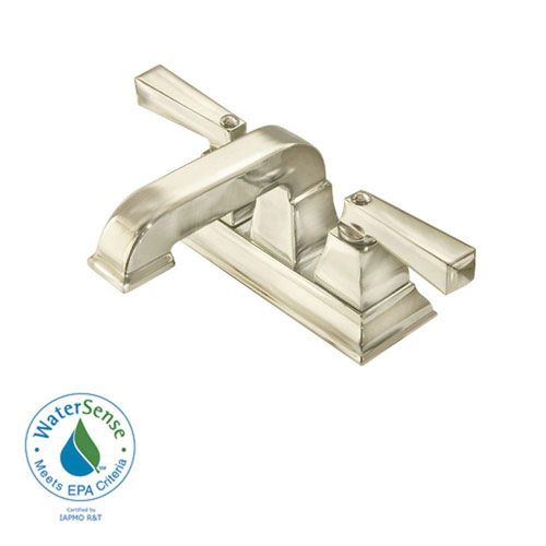American Standard Town Square 4 inch Centerset 2-Handle Low-Arc Bathroom Faucet in Satin Nickel 446105