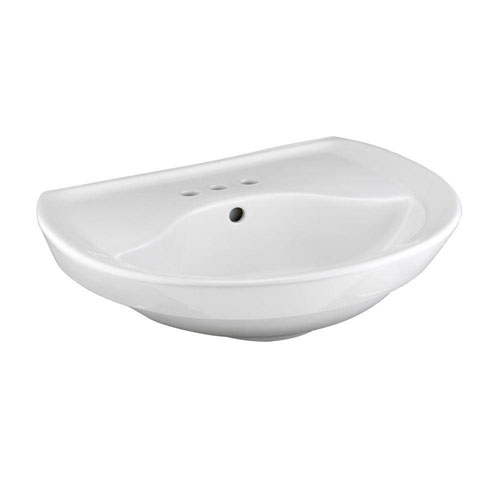 American Standard Ravenna Pedestal Sink Basin with 4 inch Faucet Centers in White 452997