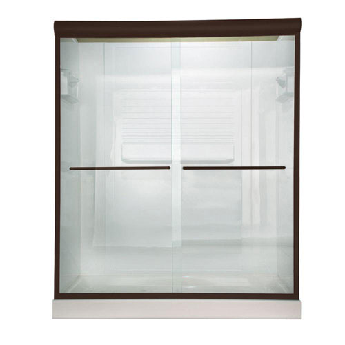 American Standard Euro 60 inch x 70 inch Frameless Bypass Shower Door in Oil Rubbed Bronze Finish with Clear Glass 468656
