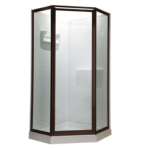 American Standard Prestige 16.6875 inch x 24.125 inch x 16.6875 inch x 68.5 H Neo-Angle Shower Door in Oil Rubbed Bronze with Clear Glass 468720