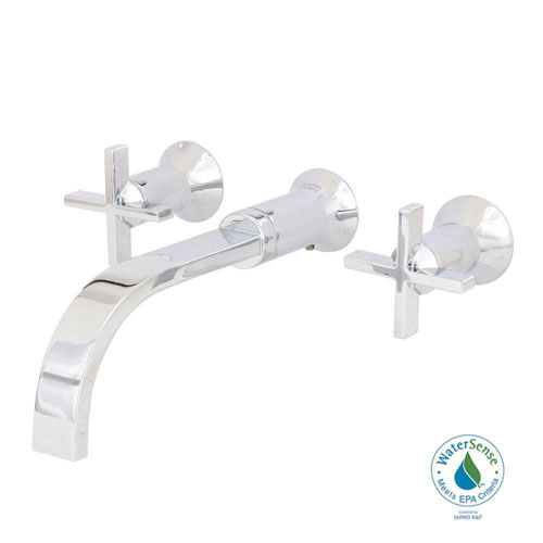 American Standard Berwick 8 inch Wall Mount 2-Handle Low-Arc Bathroom Faucet in Polished Chrome with Grid Drain, Cross Handles 500114