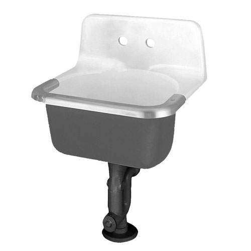 American Standard Akron Service Sink with Drilled Back on 8 inch Centers and Rim Guard in Glossy Porcelain 505929
