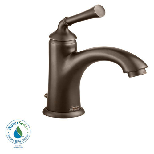 American Standard Portsmouth Monoblock Single Hole 1-Handle Mid-Arc Bathroom Faucet in Oil Rubbed Bronze with Speed Connect Drain 513121