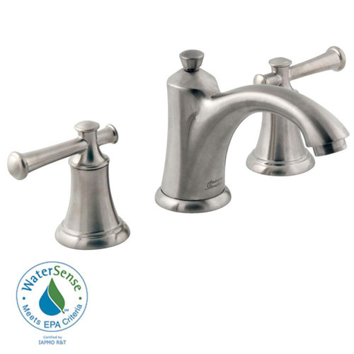 American Standard Portsmouth 8 inch Widespread 2-Handle Mid-Arc Bathroom Faucet in Satin Nickel with Speed Connect Drain and Lever Handles 513136