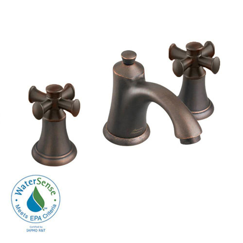 American Standard 8 inch Widespread 2-Handle Mid-Arc Bathroom Faucet in Oil Rubbed Bronze with Speed Connect Drain and Cross Handles 513139