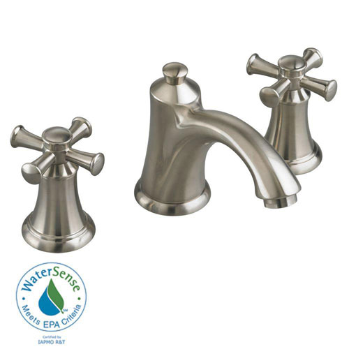 American Standard Portsmouth 8 inch 2-Handle Mid Arc Bathroom Faucet in Satin Nickel with Speed Connect Drain and Cross Handles 513140