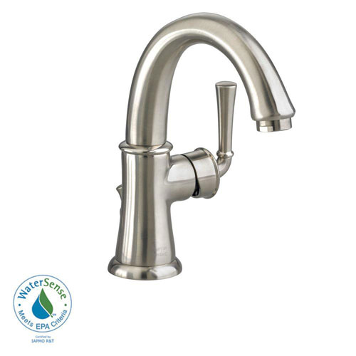 American Standard Portsmouth Monoblock Single Hole 1-Handle Mid-Arc Bathroom Faucet with Speed Connect Drain in Satin Nickel 513146