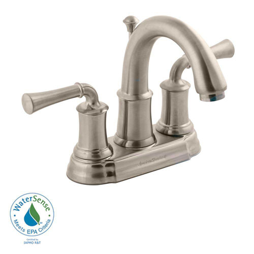 American Standard Portsmouth 4 inch Centerset 2-Handle High-Arc Bathroom Faucet with Speed Connect Drain in Satin Nickel 513151