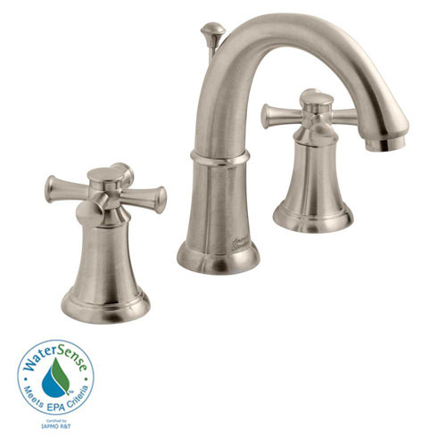 American Standard Portsmouth 8 inch Widespread 2-Handle Mid-Arc Bathroom Faucet with Speed Connect Drain in Satin Nickel 524866