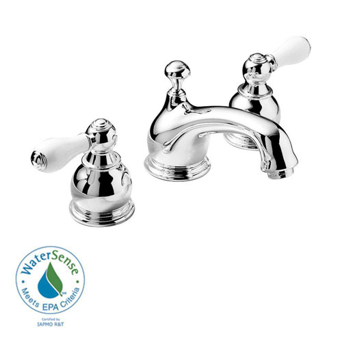 American Standard Hampton 8 inch Widespread 2-Handle Low-Arc Bathroom Faucet in Chrome with Porcelain Levers 52568