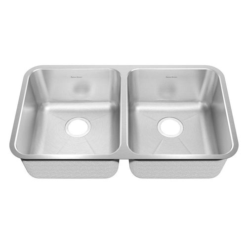 American Standard Prevoir Undermount Brushed Stainless Steel 32.875 inch 0-Hole Double Bowl Kitchen Sink 549747