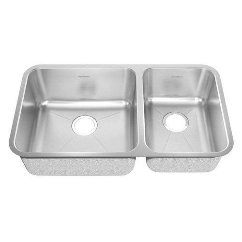American Standard Prevoir Undermount Brushed Stainless Steel 32.875x18.75x9 inch 0-Hole Double Bowl Kitchen Sink 549756