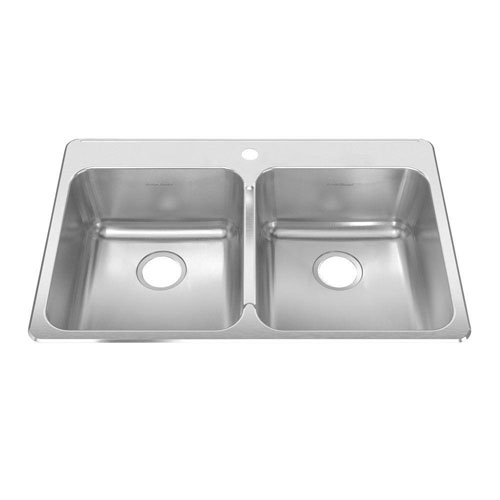 American Standard Prevoir Top Mount Brushed Stainless Steel 33.375x22x9 1-Hole Double Bowl Kitchen Sink 549779