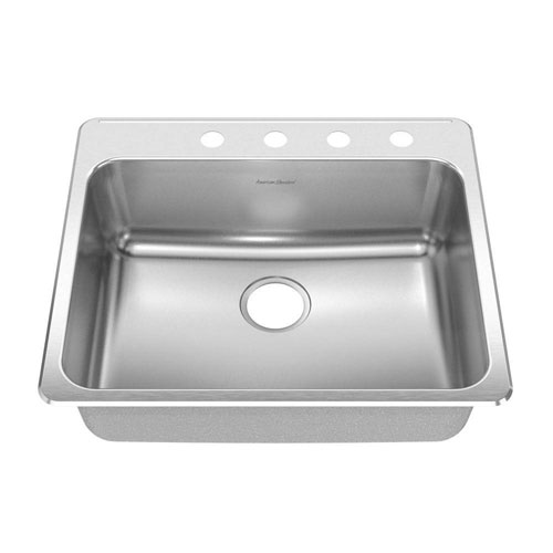 American Standard Prevoir Top Mount Stainless Steel 25.25x22x9 4-Hole Single Bowl Kitchen Sink in Brushed Stainless Steel 549786