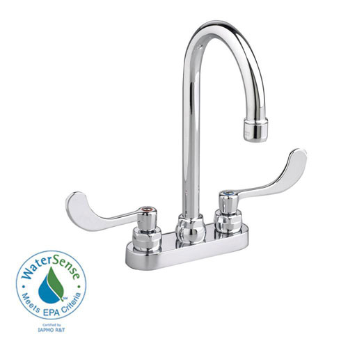 American Standard Monterrey 4 inch Centerset 2-Handle High-Arc Bathroom Faucet in Chrome with Pop-Up Drain Rod 56296