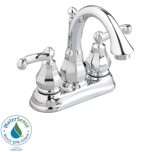 American Standard Dazzle 4 inch Centerset 2-Handle Bathroom Faucet in Polished Chrome with Metal Speed Connect Pop-Up Drain 641129