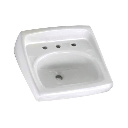American Standard Lucerne Wall-Mounted Bathroom Sink for Exposed Bracket Support by Others with Faucet Centers in White 736750