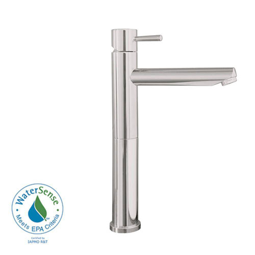 American Standard Serin Single Hole 1-Handle Mid-Arc Bathroom Vessel Faucet with Grid Drain in Satin Nickel 84817